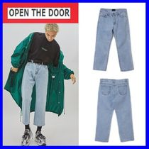 OPEN THE DOOR Unisex Street Style Plain Oversized Jeans & Denim