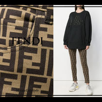 FENDI Monogram Casual Style Cotton Long Skinny Pants