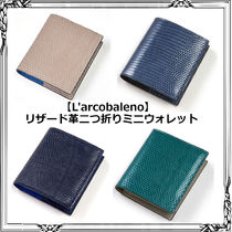 L'arcobaleno Unisex Blended Fabrics Street Style Bi-color Leather Python