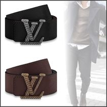 Louis Vuitton Blended Fabrics Street Style Bi-color Plain Leather Belts