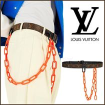 Louis Vuitton MONOGRAM Monogram Blended Fabrics Street Style Bi-color Chain Leather