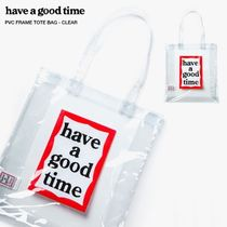have a good time Casual Style Unisex Street Style A4 Plain PVC Clothing Totes