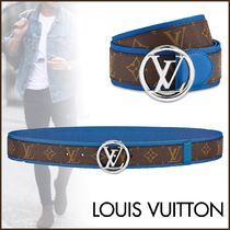 Louis Vuitton MONOGRAM Monogram Blended Fabrics Street Style Bi-color Belts