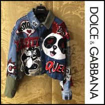 Dolce & Gabbana Short Denim Other Animal Patterns Elegant Style Jackets