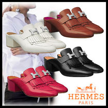 HERMES Casual Style Street Style Plain Leather Block Heels Fringes