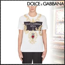 Dolce & Gabbana Crew Neck Pullovers Heart Street Style Cotton Short Sleeves