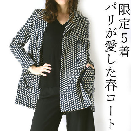 LENER Dots Casual Style Medium Peacoats