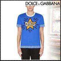 Dolce & Gabbana Crew Neck Pullovers Star Street Style Cotton Short Sleeves