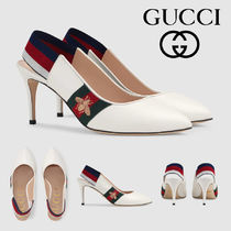 GUCCI Stripes Leather Pin Heels Elegant Style