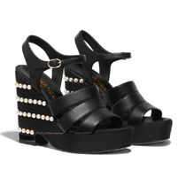 CHANEL ICON Open Toe Casual Style Plain Leather Platform & Wedge Sandals