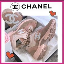 CHANEL SPORTS Casual Style Plain Leather Low-Top Sneakers