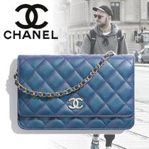 CHANEL CHAIN WALLET Unisex Lambskin 2WAY Chain Messenger & Shoulder Bags