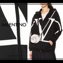 VALENTINO Long Sleeves Plain Cotton Medium Oversized Logo