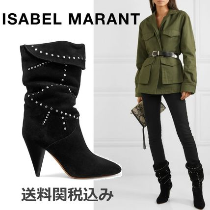 Isabel Marant High Heel Suede Blended Fabrics Studded Plain Block Heels