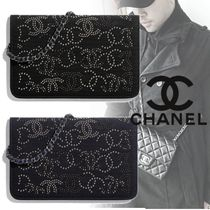 CHANEL CHAIN WALLET Unisex Studded Chain Plain Long Wallets