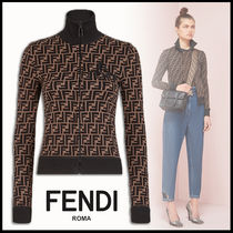 FENDI Short Monogram Rib Long Sleeves Cotton High-Neck Cropped