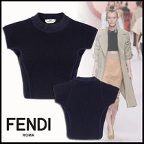 FENDI Crew Neck Short Plain Short Sleeves Elegant Style Cropped