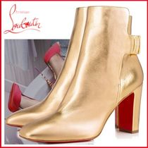 Christian Louboutin Blended Fabrics Street Style Plain Leather Block Heels