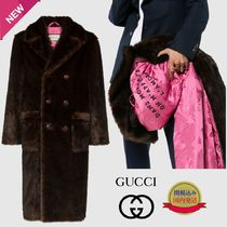 GUCCI Faux Fur Plain Long Chester Coats