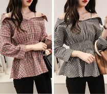 Gingham Casual Style Long Sleeves Shirts & Blouses