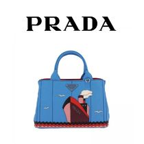 PRADA CANAPA Casual Style Canvas 2WAY Totes