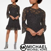 Michael Kors Flower Patterns Cropped Party Style Lace Dresses