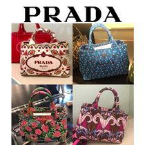 PRADA CANAPA Stripes Flower Patterns Casual Style Canvas 2WAY Totes