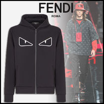 FENDI BAG BUGS Street Style Long Sleeves Plain Cotton Sweatshirts