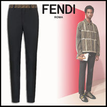 FENDI Slax Pants Monogram Plain Cotton Slacks Pants