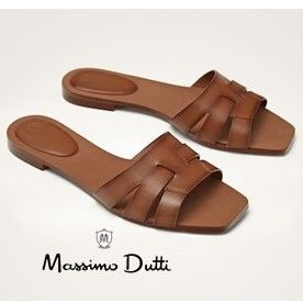 Square Toe Casual Style Plain Leather Sandals