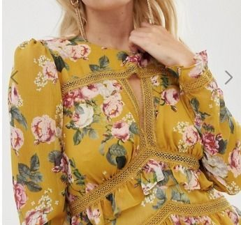 Crew Neck Flower Patterns Maxi Long Sleeves Long Lace