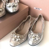 MiuMiu Leather With Jewels Ballet Shoes