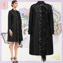 PRADA Short Wool Long Sleeves Plain Party Style With Jewels