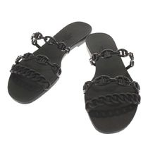 HERMES Rivage Open Toe Rubber Sole Casual Style Chain Flip Flops