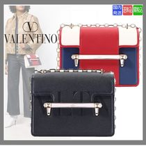 VALENTINO Calfskin Chain With Jewels Elegant Style Shoulder Bags