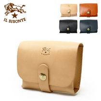IL BISONTE Plain Leather Pouches & Cosmetic Bags