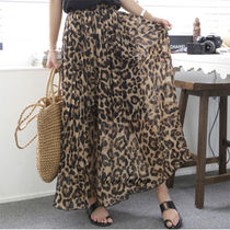Leopard Patterns Casual Style Pleated Skirts Long