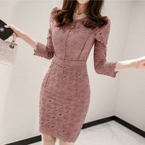 Short Tight Cropped Plain Lace Elegant Style Dresses