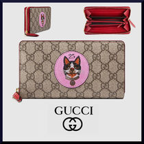 GUCCI GG Supreme Unisex Other Animal Patterns Leather Long Wallets