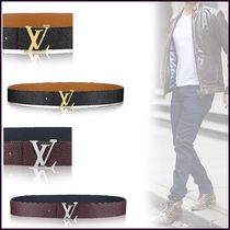 Louis Vuitton TAURILLON Blended Fabrics Street Style Bi-color Plain Leather Belts