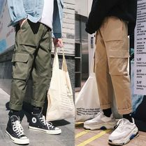 Plain Cotton Oversized Khaki Cargo Pants