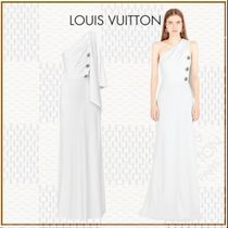 Louis Vuitton Maxi Silk Blended Fabrics Plain Long Dresses
