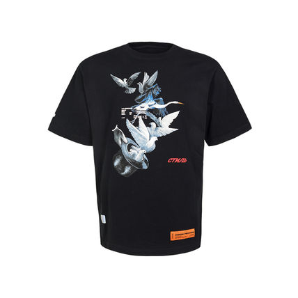 Heron Preston Crew Neck Heron Preston Men Black Doves Short Sleeve T Shirt Cotton 2
