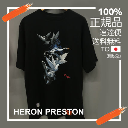 Heron Preston Crew Neck Heron Preston Men Black Doves Short Sleeve T Shirt Cotton