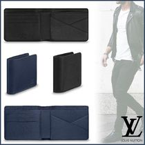 Louis Vuitton TAURILLON Blended Fabrics Street Style Plain Leather Folding Wallets
