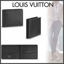 Louis Vuitton EPI Blended Fabrics Street Style Plain Leather Folding Wallets