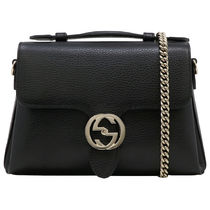 GUCCI Chain Plain Leather Shoulder Bags