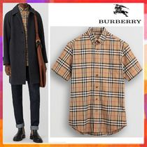 Burberry Button-down Other Check Patterns Cotton Short Sleeves
