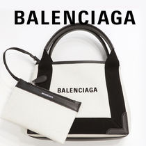 BALENCIAGA CABAS Casual Style Calfskin Canvas Blended Fabrics Vanity Bags