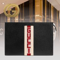 GUCCI Unisex Street Style Plain Leather Clutches